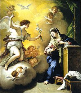 Annunciation by Paolo de Matteis, 1712. The white lily in the angel's hand is symbolic of Mary's purity [1] in Marian art.[2]. Public Domain