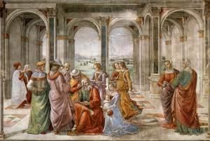GHIRLANDAIO, Domenico Zacharias Writes Down the Name of his Son Fresco Cappella Tornabuoni, Santa Maria Novella, Florence. Public Domain