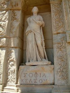 Personification of wisdom (in Greek, Σοφία or Sophia) at the Celsus Library in Ephesus, Turkey. photo by Radomil talk 21:21, 30 November 2005 (UTC) http://creativecommons.org/licenses/by-sa/3.0/